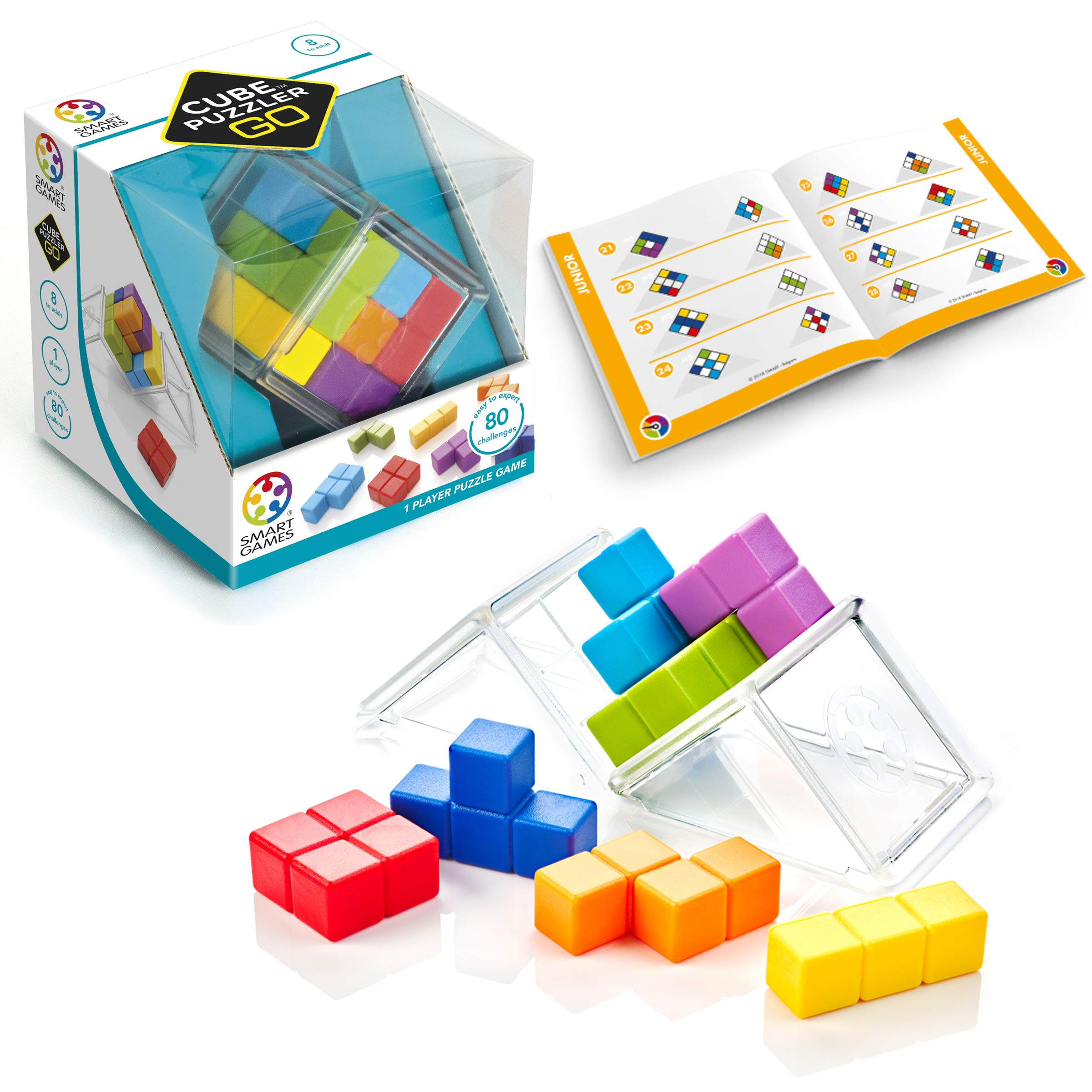 SmartGames Cube Puzzler GO - 3D STEM Game - Brain Teaser for Ages 8 & Up, 80 Challenges in Portable Display Case. by SmartGames