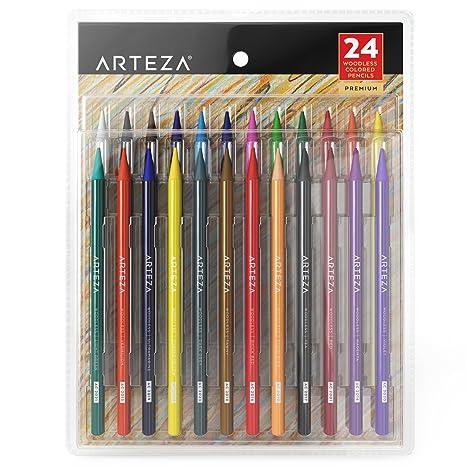 ARTEZA Lápices de colores sin madera | Paquete de lapiceros para colorear | 24 lápices de