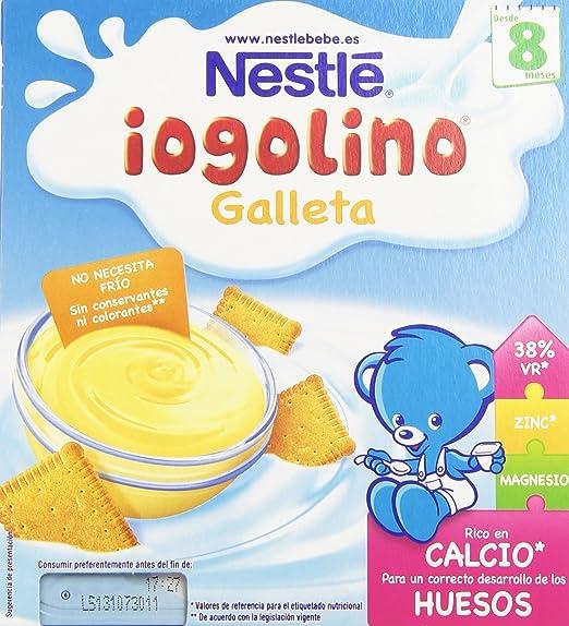 Nestlé iogolino Alimento infantil, postre lácteo con galleta - Paquete de 4 x 100 gr
