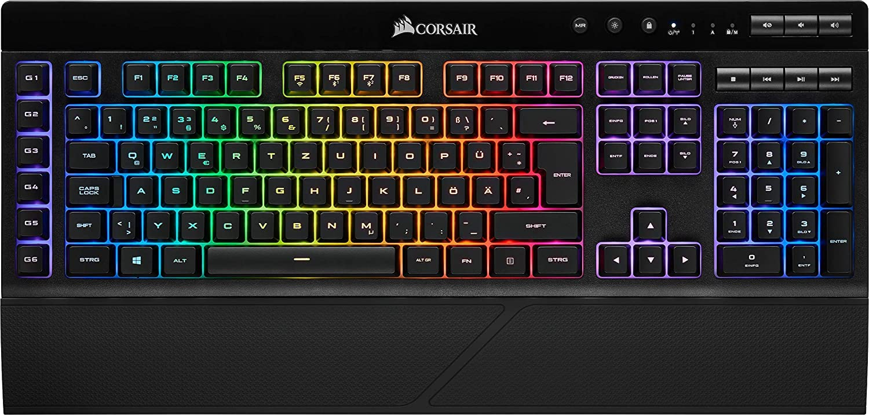 Corsair K57 RGB Teclado USB + Bluetooth QWERTZ Alemán Negro CH-925C015-DE, Estándar, USB + Bluetooth, Interruptor de Membrana, QWERTZ, LED RGB, Negro