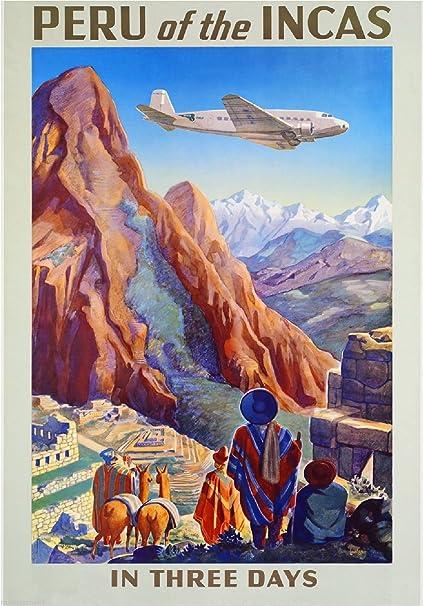 Peru Of The Incas Machu Picchu Cusco Vintage Travel Advertisement Art Collectible Wall Decor Poster Print
