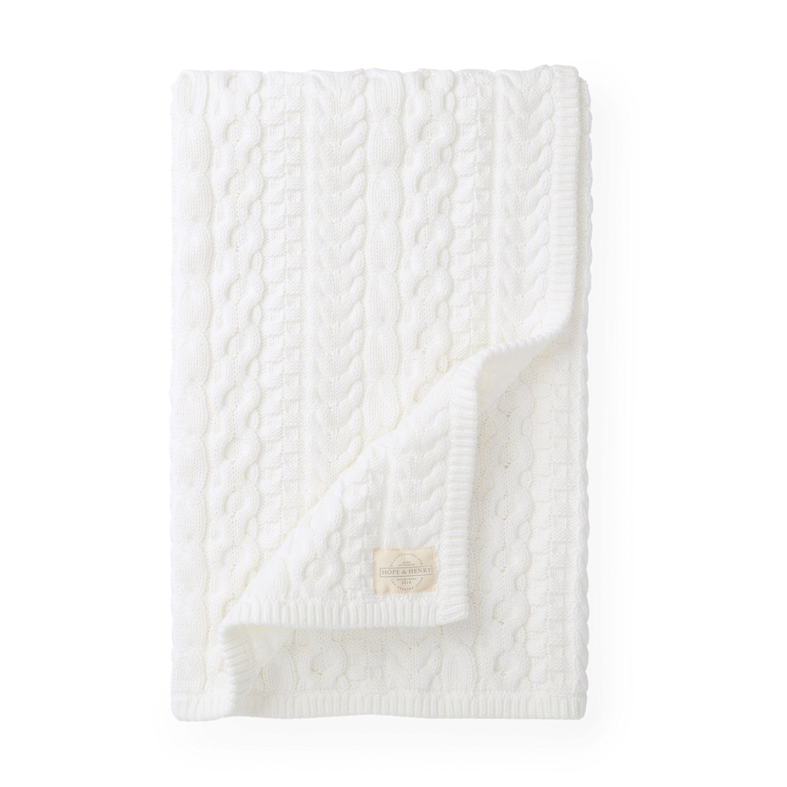 Hope & Henry Layette Ivory Cable Blanket by Hope & Henry