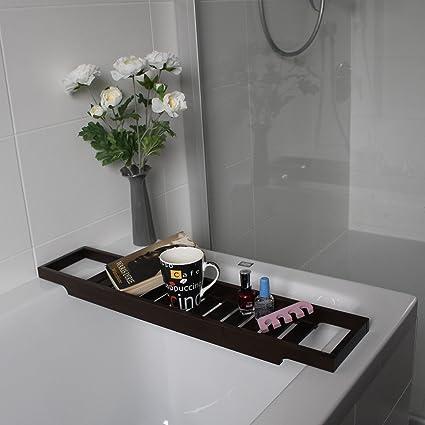 Ikea Etagere Pour La Baignoire Plateau Pour La Baignoire En 2 Couleurs Bois Marron Fonce 70 Cm Amazon Fr Cuisine Maison