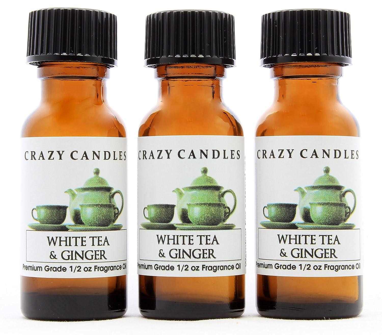 Crazy Candles White Tea & Ginger (Made in USA) 3 Bottles 1/2 FL Oz Each (15ml) Premium Grade Scented Fragrance Oil