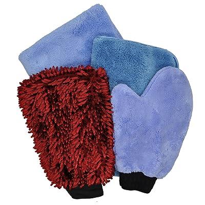 Microfiber Detailing Kit 4-Piece (2 Towels, 2 Mitts): Automotive [5Bkhe2011619]