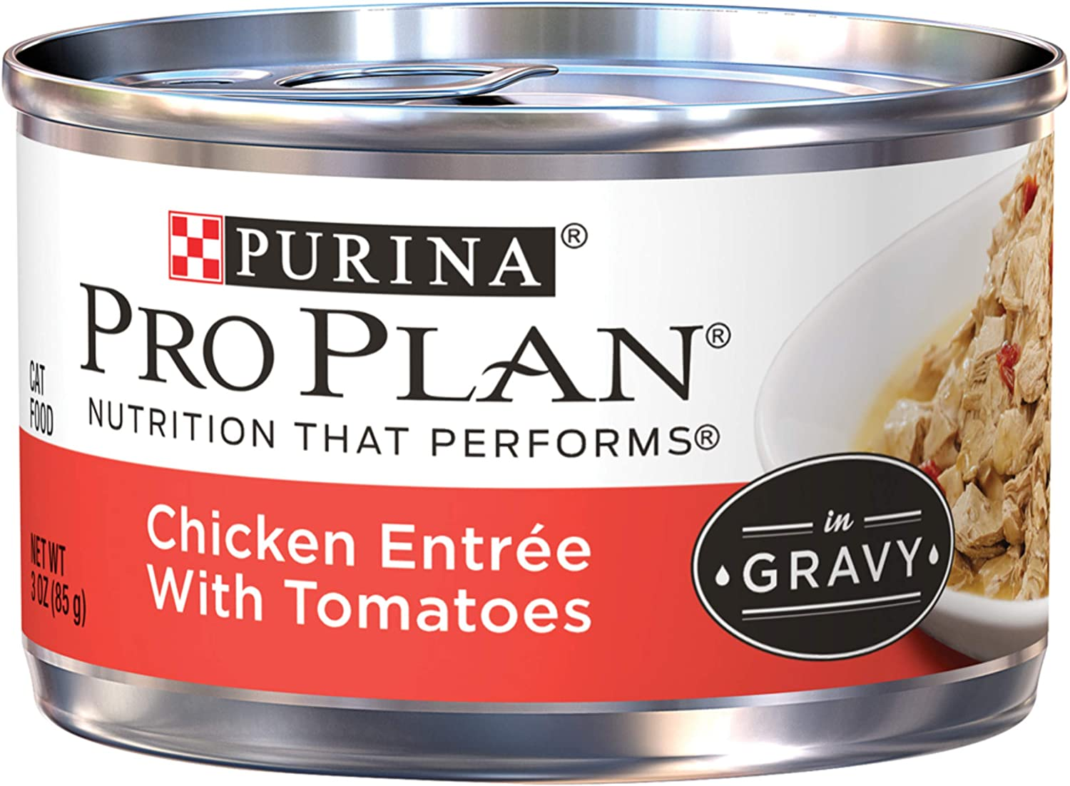 Purina Pro Plan Gravy Wet Cat Food, Chicken Entree With Tomatoes - (24) 3 oz. Pull-Top Cans