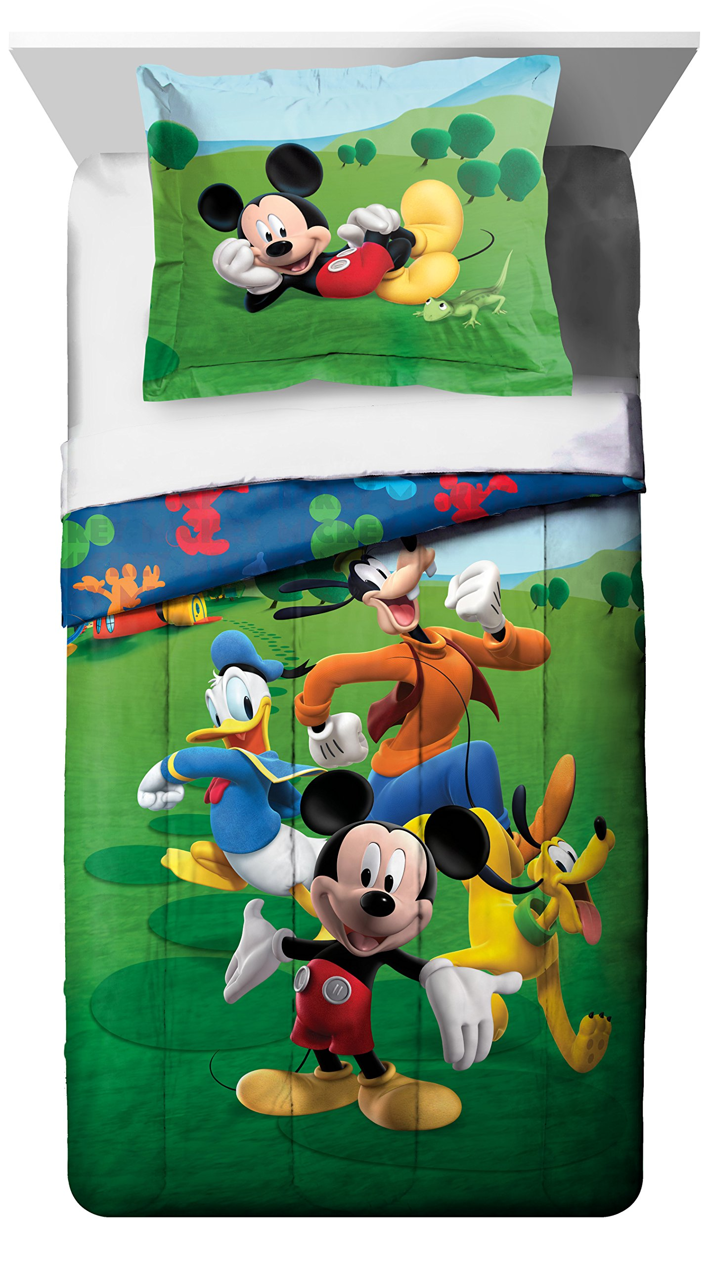 Disney Mickey Mouse Club House Adventure Twin Comforter - Super Soft Kids Reversible Bedding features Mickey Mouse and Friends - Fade Resistant, Includes 1 Bonus Sham (Official Product) by Disney