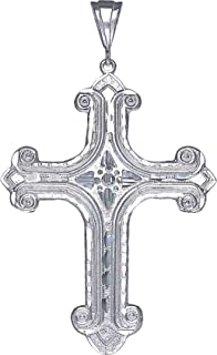 Huge Heavy Sterling Silver Cross without Jesus Pendant Necklace 18 Grams 3.5 Inches