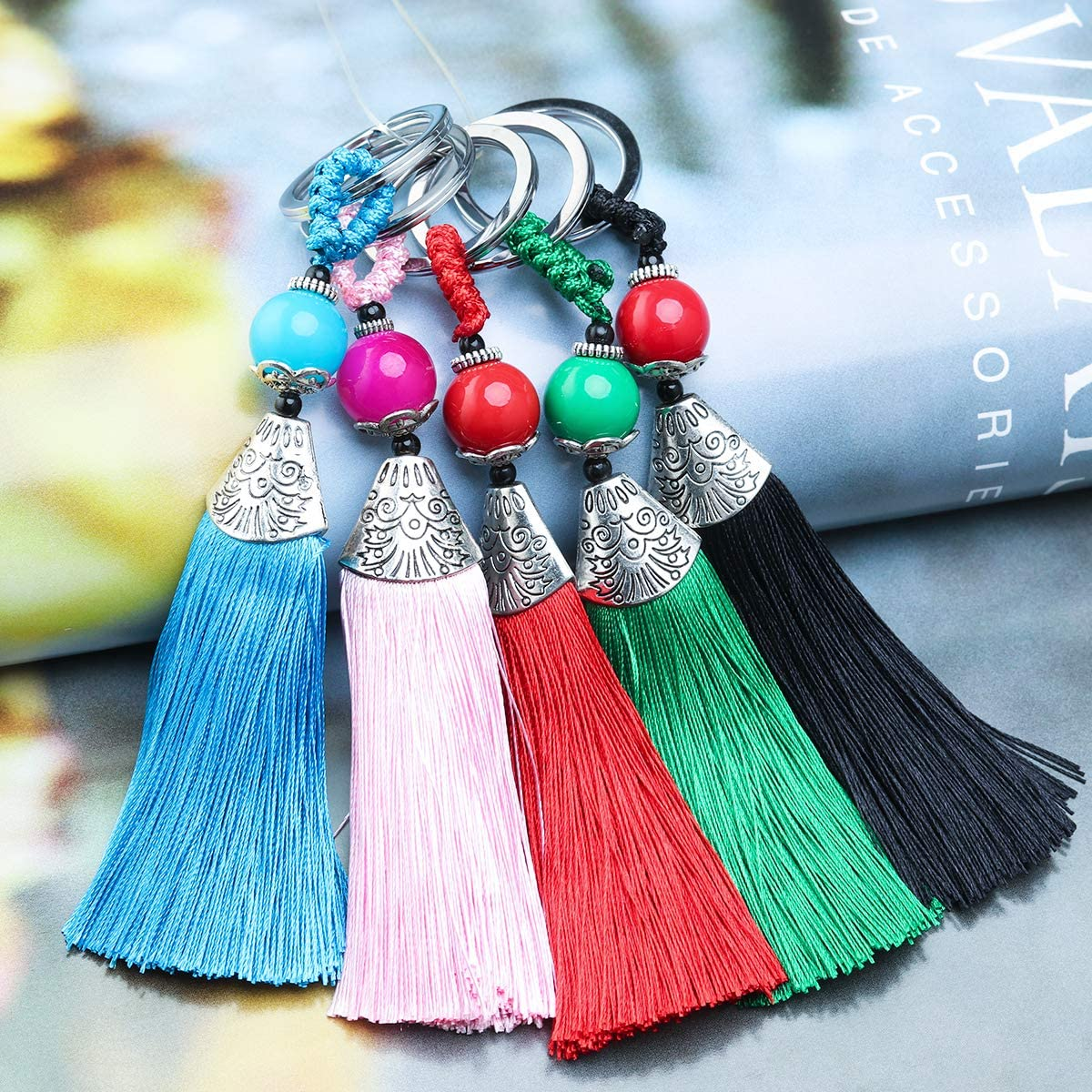 Forise 10pcs Tassels Key Chain Mixed 10 Color 4.7 inches Handmade Silk Tassels Beads Charms for DIY Crafts Jewelry Making