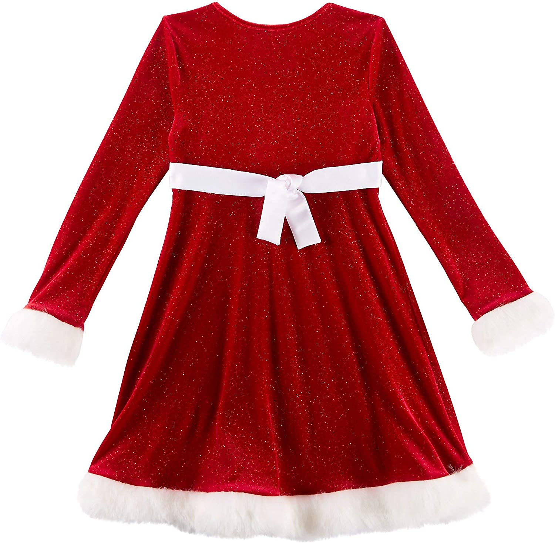 Bonnie Jean Red Sparkle Velvet and Sequin Christmas Dress with Faux Fur Trim