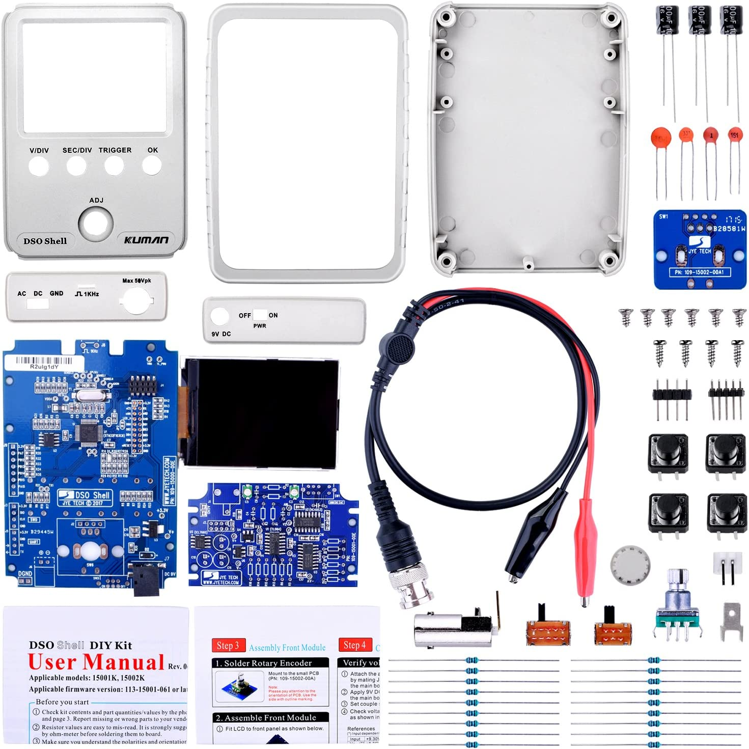 Probe 15001K DIY Parts SMD pre-soldered Kuman JYE Tech DSO Shell Oscilloscope DIY Kit with Open Source 2.4 inch Color TFT LCD+ Shell