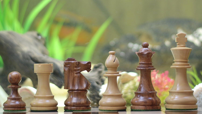 Reproduzierte französische Lardy Staunton Schachfiguren: Handgefertigte Schachfiguren aus Sheeshamholz und Buchsbaumholz – KH 95mm Chessbazaar