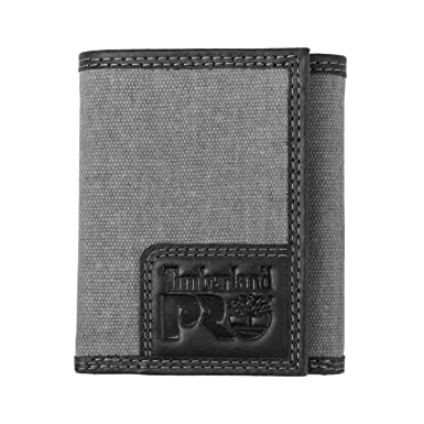 766d624132ac Timberland PRO Men s Canvas Leather RFID Trifold Wallet with Zippered  Pocket
