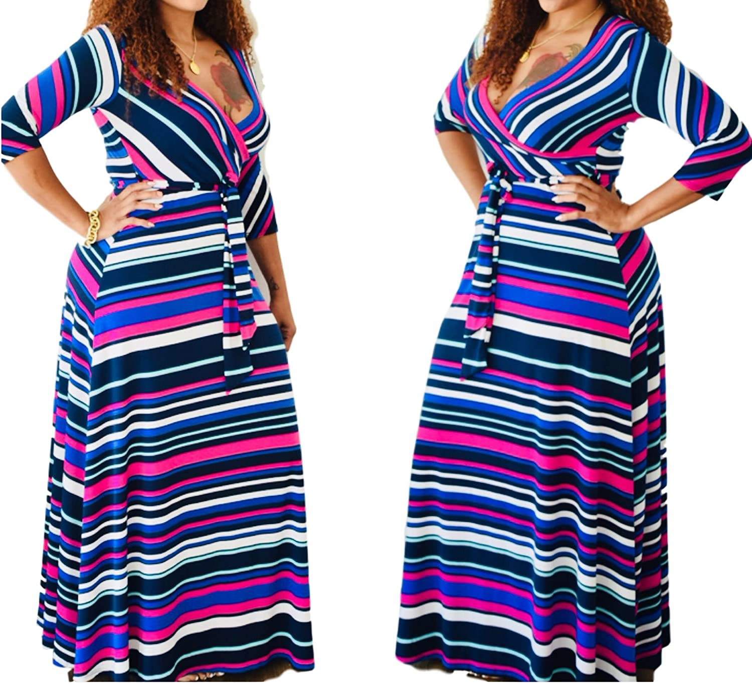 Fabulously Dressed New Vibrant Striped Belted Faux Wrap Maxi Dress Size Small