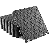 Yes4All Interlocking Exercise Foam Mats with Border - Cover 12 & 36 SQ. FT (Black or Gray)