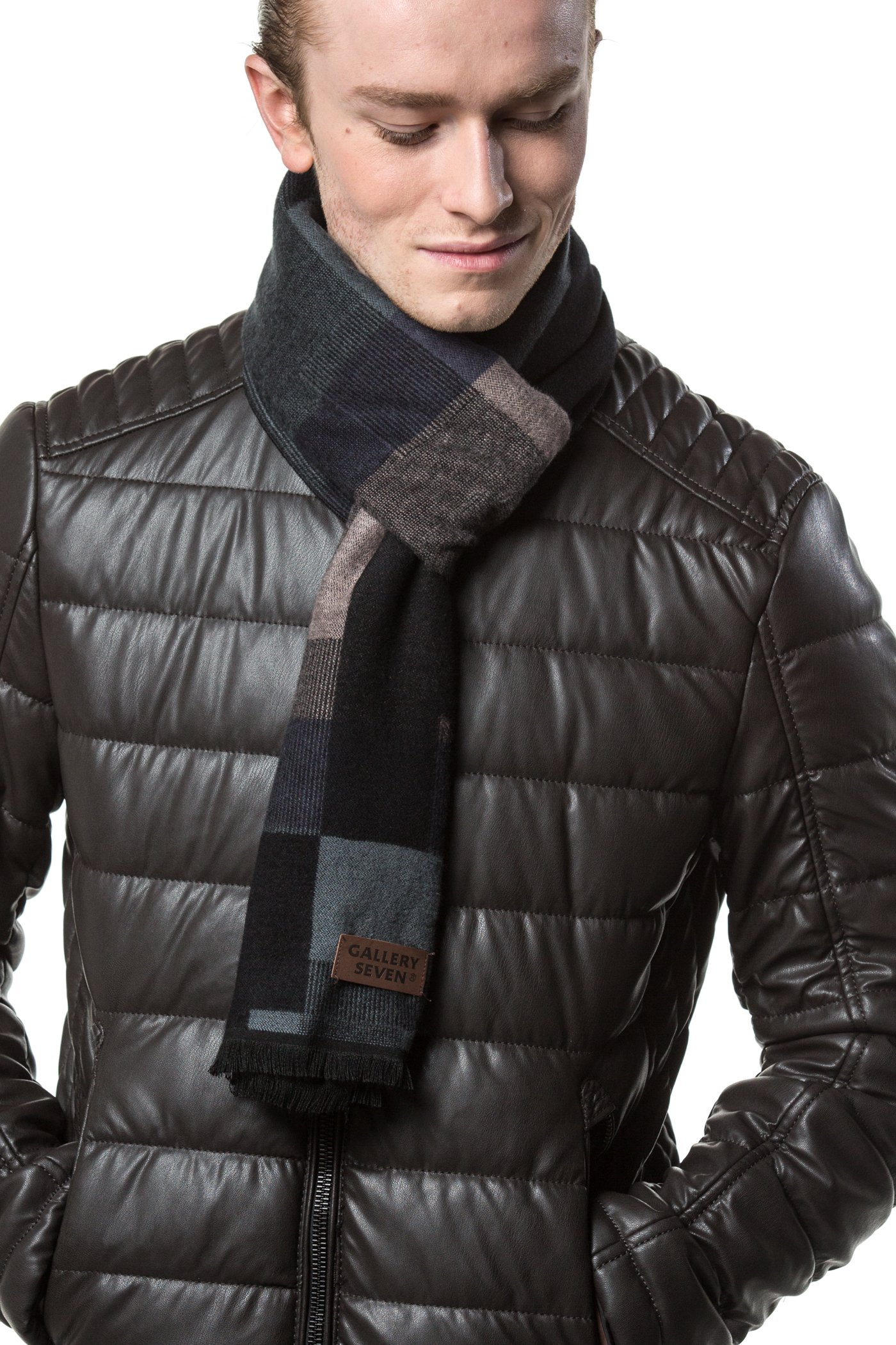 Gallery Seven Mens Scarf - 100% Cotton Winter Scarves fo Men - Elegantly Gift Wrapped - Hex