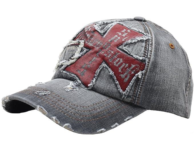 a6db795f531 Raon B24 Best Unisex Vintage Look Hat Cross Emblem Baseball Design Ball Cap  Truckers (BlackJean