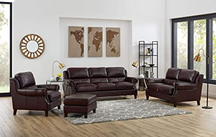 Amazon.com: Hydeline Bradbury 100% Leather Set, Sofa ...