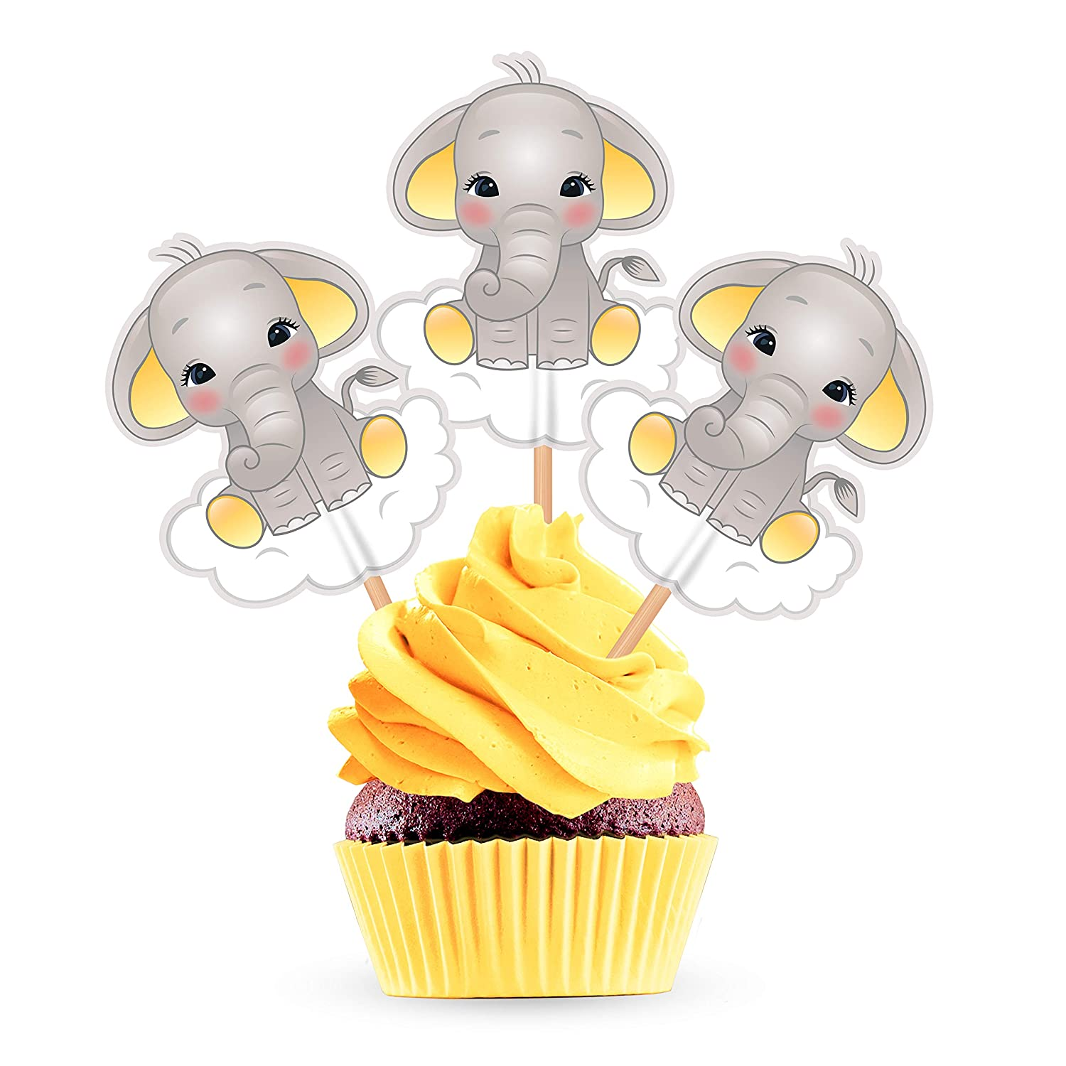 Yellow Elephant Cupcake Cake Toppers - Gender Neutral Baby Shower Birthday Party Decorations Supplies - 25 Pieces