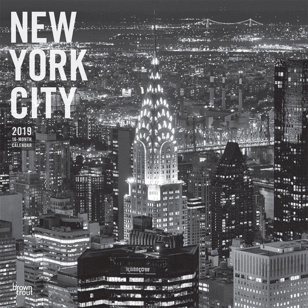 2019-16 School Calendar Nyc Amazon.: 2019 New York City B&W Wall Calendar, New York City