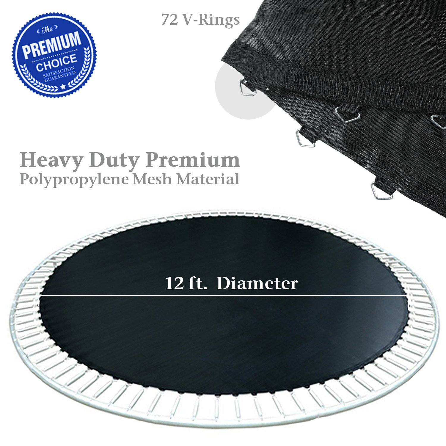 PARTYSAVING 12' Round Replacement Trampoline Mat with 72 Rings, for 14' Frames, APL1371 for 14' Frames