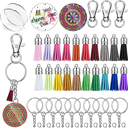 Clear Circle Discs Keychain Set Round Acrylic Keychain Leather Tassel Pendant