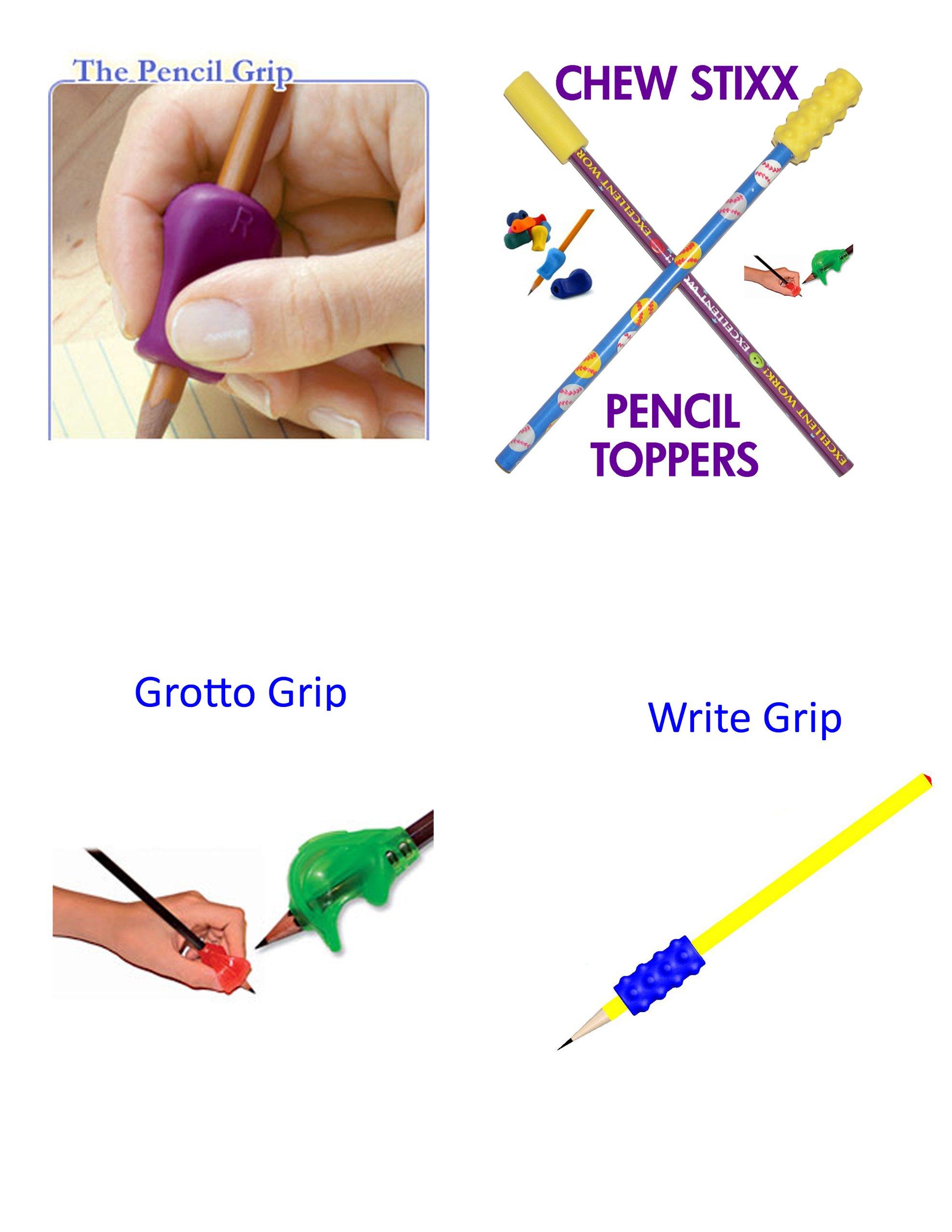 Pencil Grip, Grotto Grip, Write Grip, Chew Stixx Pencil Topper Ultimate Combo