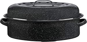 Granite Ware 15-Inch Covered Oval Roaster, 15 inches, Black