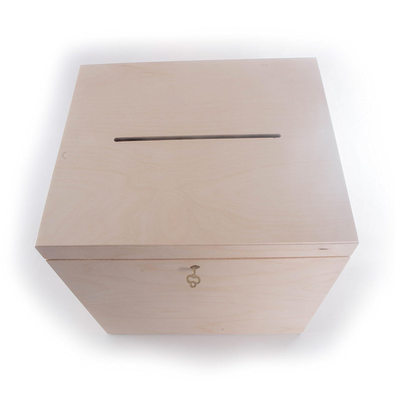 Tamaño grande de madera Plain con cerradura buzón de correos con ranura para tarjetas de boda/boda caja/sin pintar/29 x 25 x 30 cm: Amazon.es: Hogar