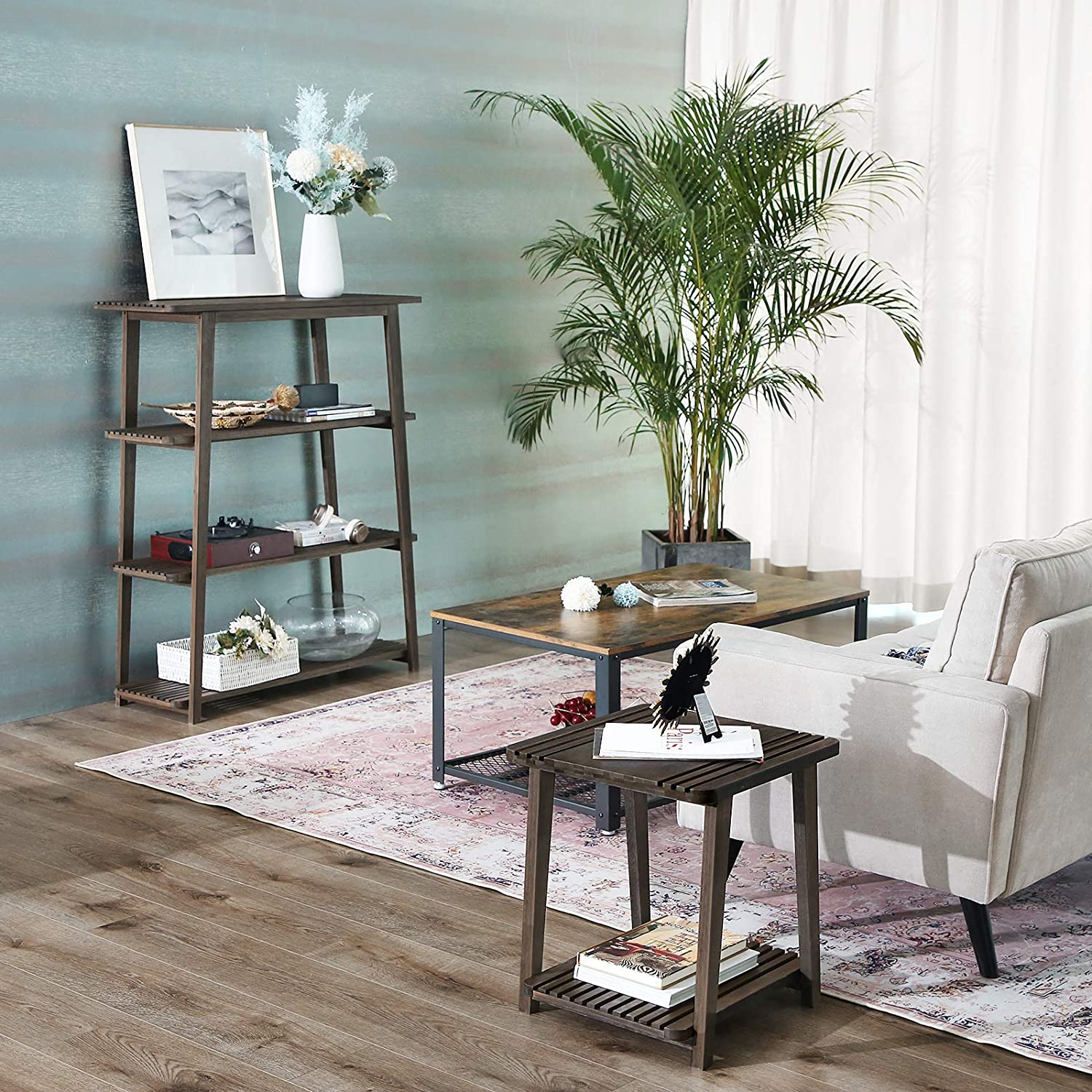 Shelving Unit for Living Room Study Balcony Stable Plant Stand 39.4 x 14.4 x 47.2 Inches Walnut Color ULUS100WN 4-Tier Bookcase with Cutout Design VASAGLE Bamboo Storage Rack Tower Design