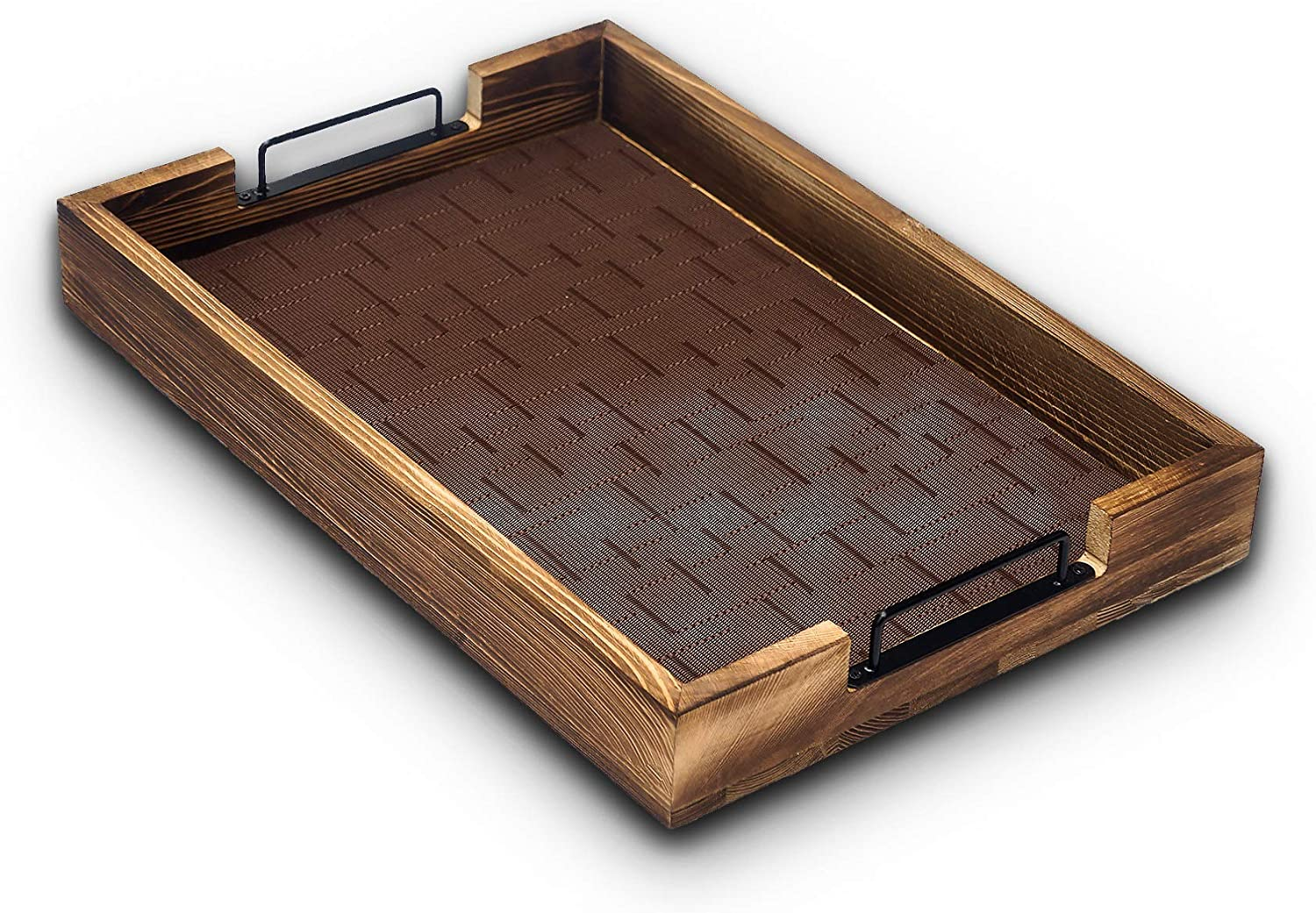 Large Rustic Wood Ottoman Tray with Washable Non Slip Serving Tray Mat & Protective Pads 19