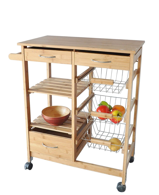 Amazon.com: JA Marketing Bamboo Wood Kitchen Cart With Drawers, Baskets,  Shelves U0026 Towel Holder: Home U0026 Kitchen