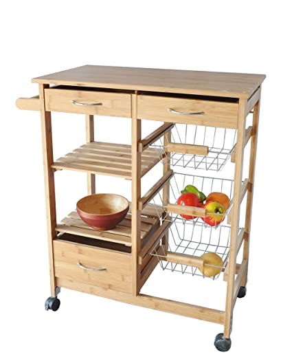 dp trolley drawer com kitchen amazon dining cart with rack wine ac costzon storage drawers basket island