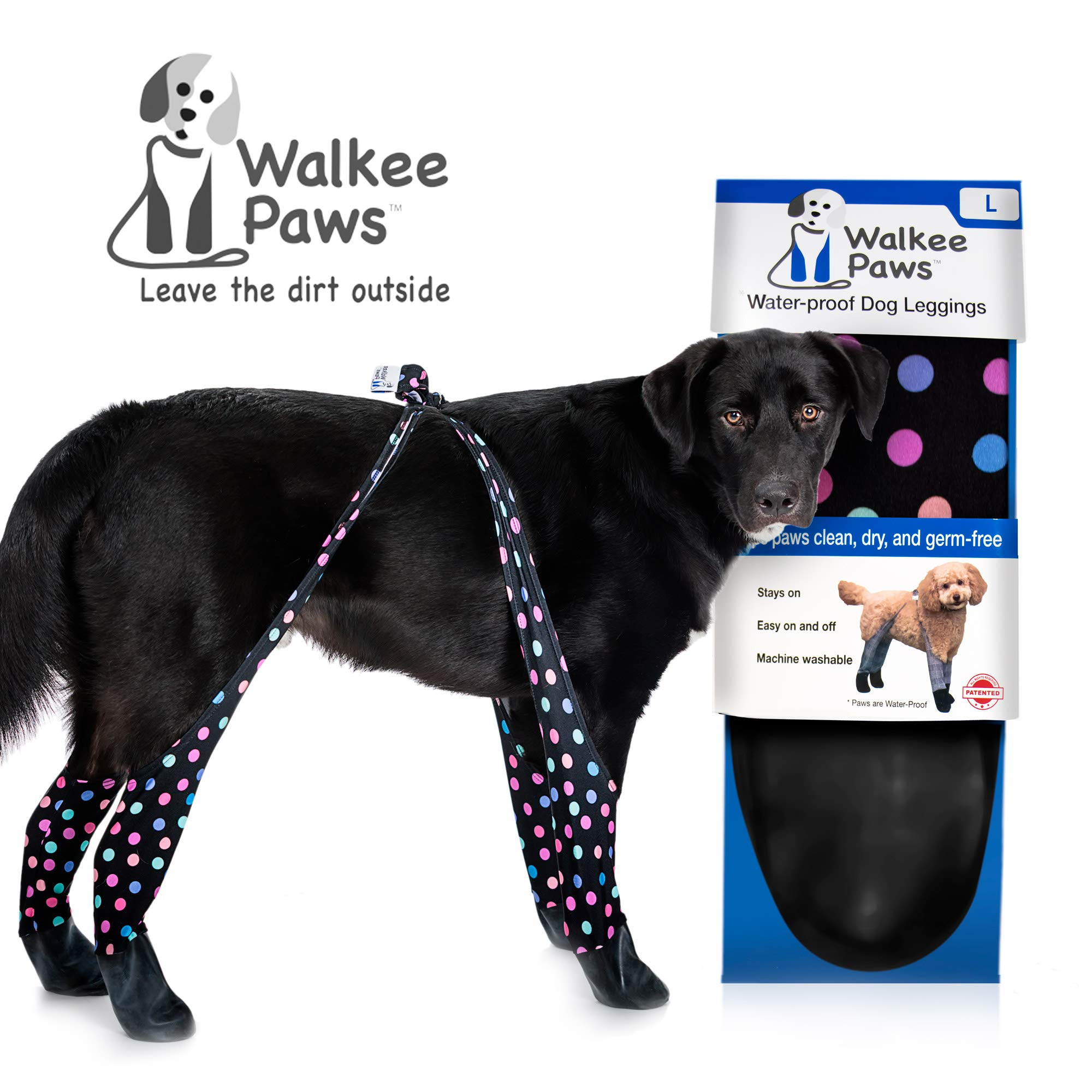 Walkee Paws Waterproof Dog Leggings - Keep Your Dog's Feet Clean and Dry Without The Hassle of Boots - Confetti Color (Large), WPCONL