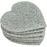 Handmade Beaded Heart Coaster Set - 6 Silver, 4 Inch Coasters - Heat-Resistant Polyester Backing & Genuine Glass Beads