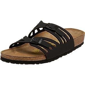 Birkenstock Women's Granada Soft Footbed Sandal,Black Oiled Leather,41 N EU
