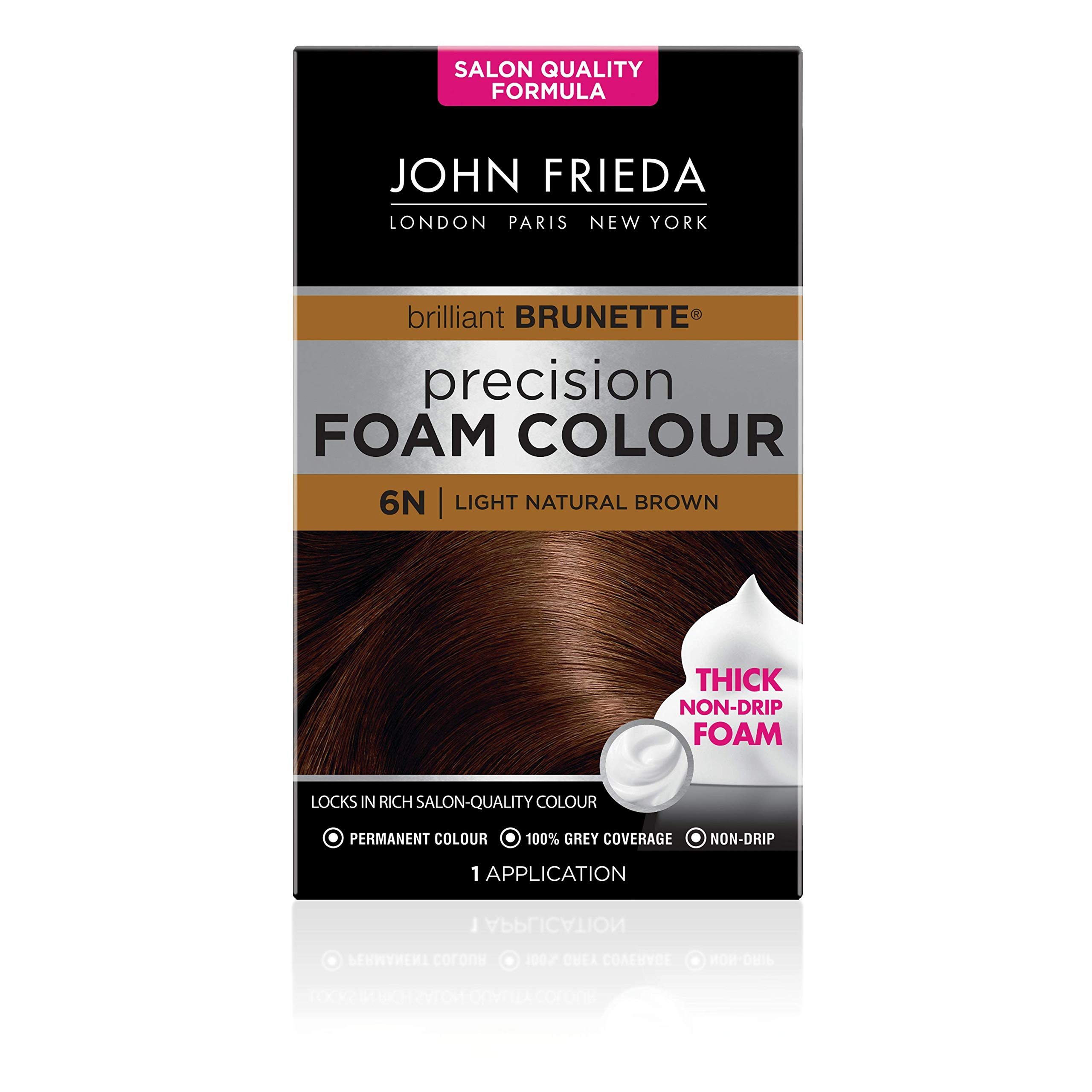 John Frieda Precision Foam Colour Permanent Hair Dye, Number 6N, Light Natural Brown