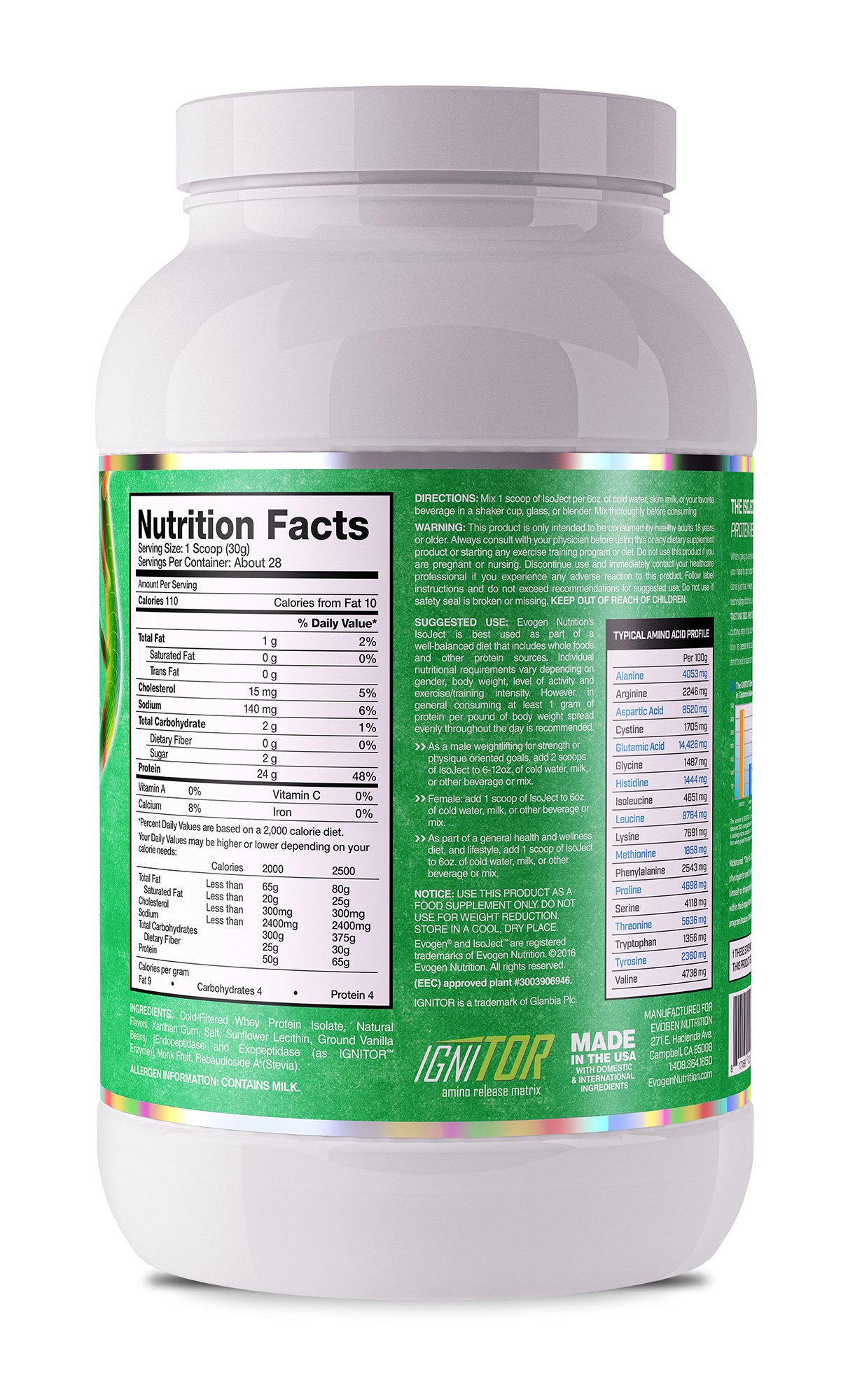 Evogen Isoject Naturals   Premium Whey Isolate w/Digestive Enzymes   28 Servings   Vanilla by Evogen Nutrition (Image #2)