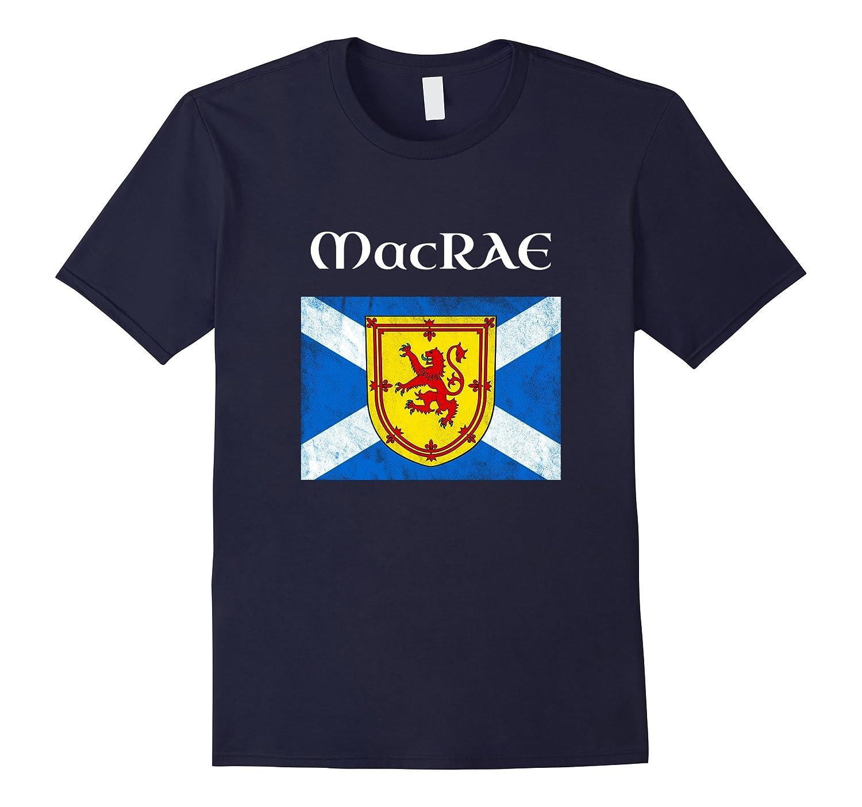 MacRae Scottish Clan Name T Shirt Coat Arms Lion Flag-Art