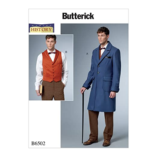 Men's Vintage Reproduction Sewing Patterns Mens Single-Breasted Lined Coat and Vest with Back Belt Costume by Making History Size MQQ (46-52) 6502 $13.50 AT vintagedancer.com