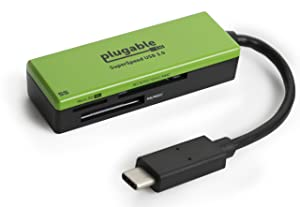 """Plugable USB C SD Card Reader - Compatible with 2017 MacBook Pro, 12"""" Retina MacBook & More (Thunderbolt 3 Port Compatible, Supports SD, MMC, MS Cards)"""