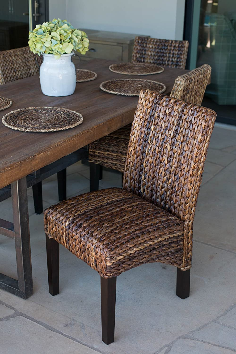 Amazoncom BirdRock Home Abaca and Seagrass Side Chair Set 2