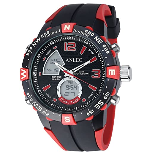 anleowatch 1pcs Reloj Relojes deportivos Hombres Militar Relojes reloj digital LED Hombre Cuarzo 1088-red: Amazon.es: Relojes