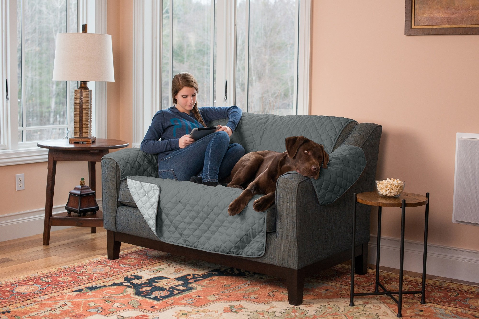 Home Fashion Designs Deluxe Reversible Quilted Furniture Protector and PET PROTECTOR. Two Fresh Looks in One. Perfect for Families with Pets and Kids. By Brand. (Love Seat, Light Grey/Dark Grey)