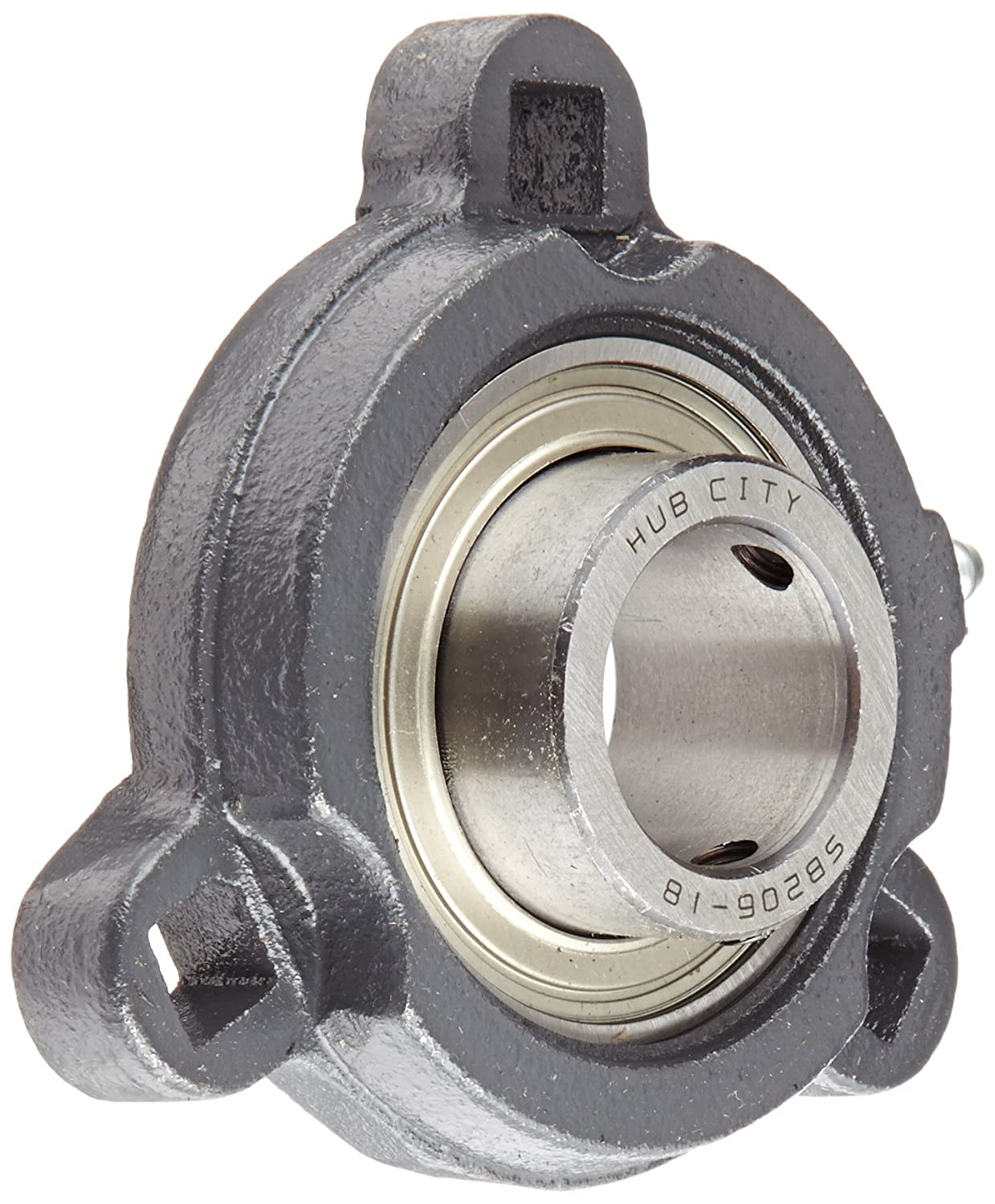 Hub City FB150URX1-1/8 Flange Block Mounted Bearing, 3 Bolt, Light Duty, Relube, Setscrew Locking Collar, Narrow Inner Race, Ductile Housing, 1-1/8' Bore, 1.56' Length Through Bore, 3.56' Mounting Hole Spacing 1-1/8 Bore 1.56 Length Through Bore