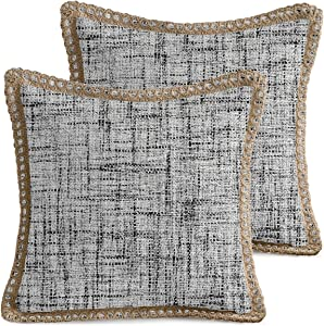 AVOIN Trimmed Edge Throw Pillow Cover, 18 x 18 Inch Farmhouse Decorative Cushion Case for Sofa Couch Cream Pack of 2