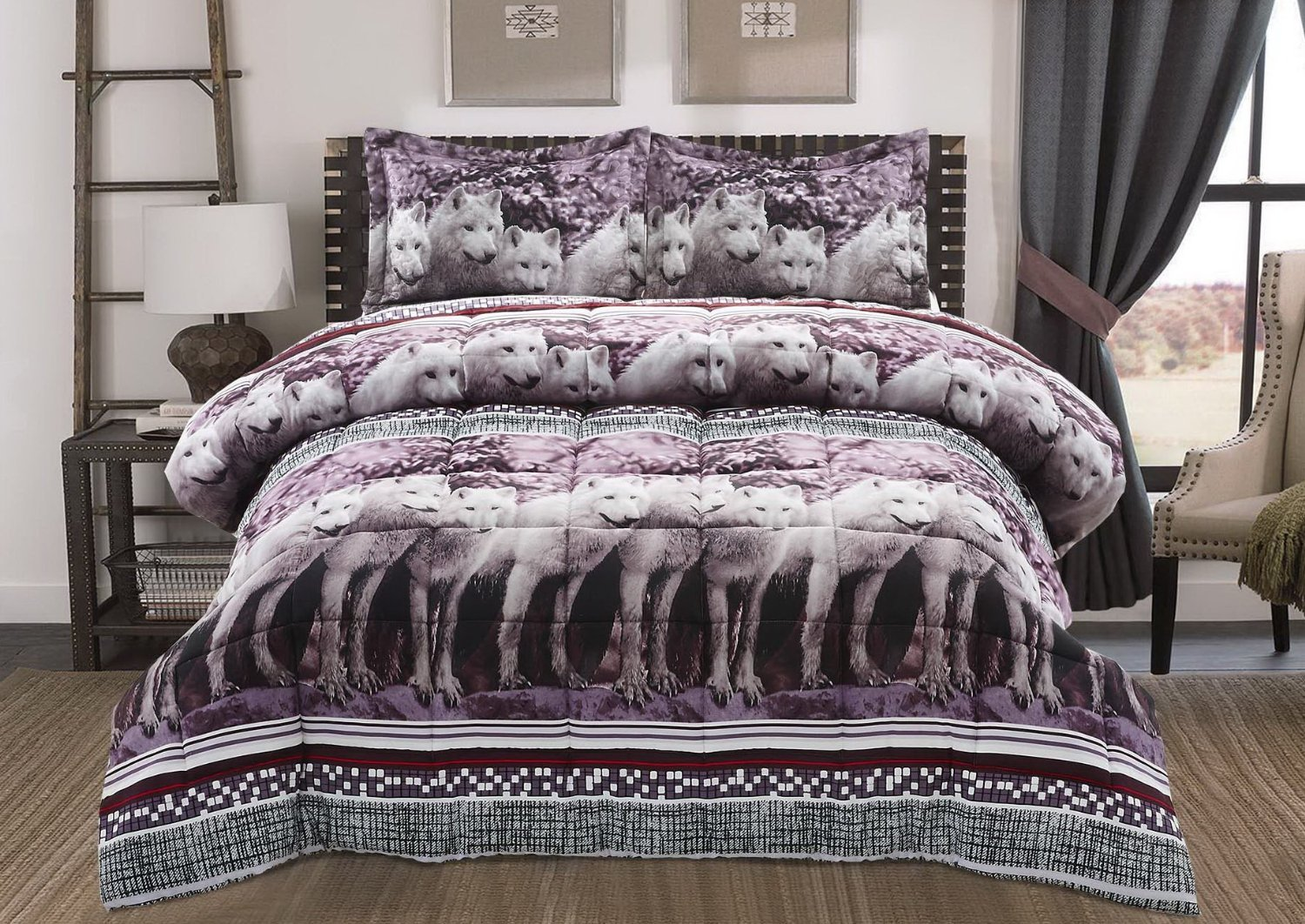 5 Piece Soft Microfiber Color Fade Resistant 3D White Mountain Wolf Pattern Comforter Sets Queen Size