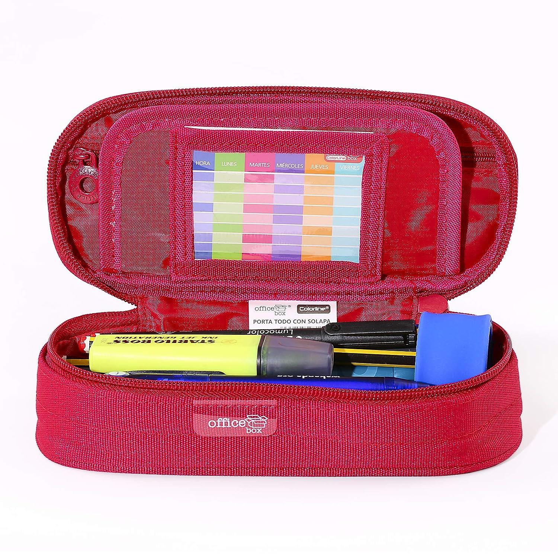 PracticOffice - Estuche Multiuso Megapak Oval para Material Escolar, Neceser de Viaje o Maquillaje. Medida 22 cm. Color Azul Oscuro