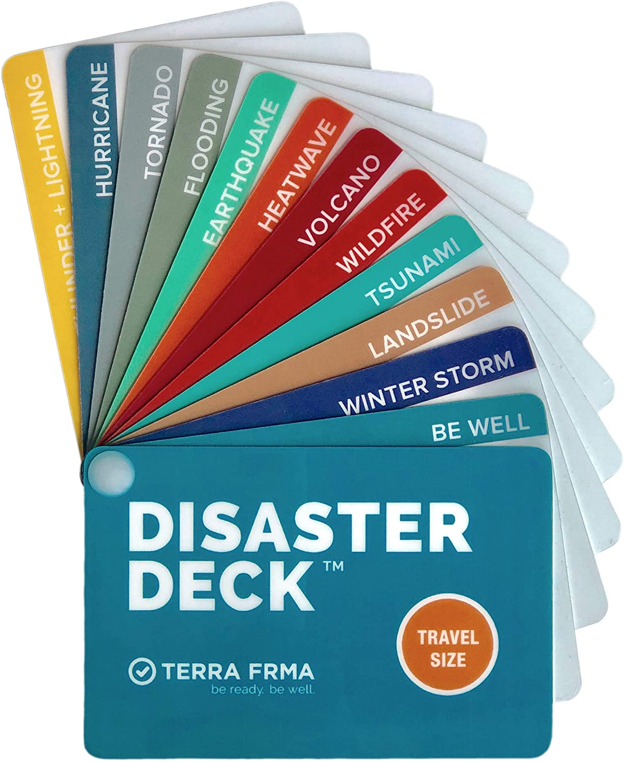 Disaster Deck - Pocket-sized Emergency Survival Instructions for Wildfire, Earthquakes, Hurricane, Winter Storm + Other Disasters