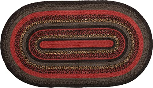 VHC Brands Rustic Flooring Cumberland Jute Oval 27×48 Rug, Chili Pepper Red